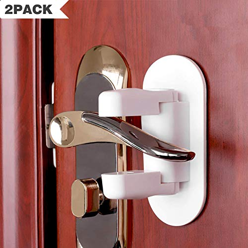Child Safety Proof Door Lock Handle Lever for Window Bedroom Kitchen Bathroom Front Gate Doors Drawers Cabinets Dishwasher, 2 Pack