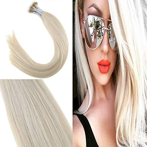 Youngsee 24 Inches Blonde Nano Ring Extensions 1g/S Remy Fusion Nano Loop Human Hair Extensions Real Straight Hair 50gram/Set (1 Gram Loop Extensions)