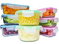 Elacra Glass Food Storage Containers Oven Safe Microwavable BPA-Free Spill Proof Airtight Lids (8 Pack)