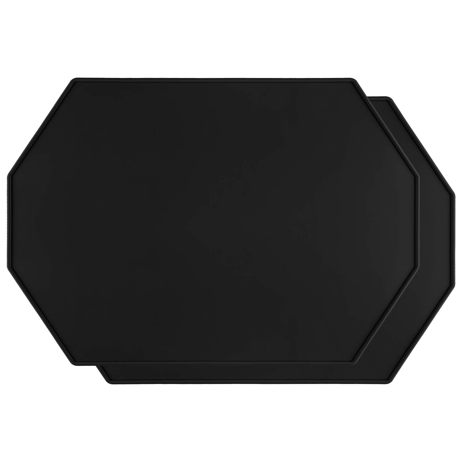 Lazy K Silicone Placemats - Octagon with Raised Edges - Non Slip Waterproof - Simple Modern Design - Heat-Resistant Kitchen Table Mats - Black (Set of 2)
