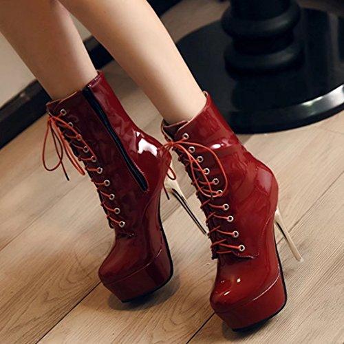 AIYOUMEI Damen Lackl Stiletto Stiefeletten mit Plateau und Schnürung Reißverschluss Stiefel Schuhe eRS4Cv4wt