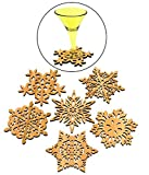 Set of 6 Piece Creative Vintage Wood Snowflake Coasters Carved Hollow Designed Decorations Mini Tabletop Trivets Cup Mat Laser Cut-outs Winter Collection Multi Purpose Novelty Ornaments Art and Craft