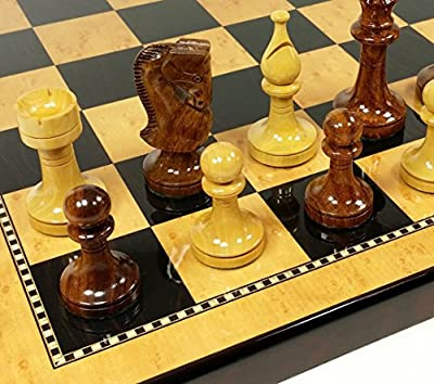 "4 Queens Sheesham LACQUERED Russian 3 1/2"" King Staunton Wood Chess Set W/ 18"" Dark Walnut & Maple Color Board"