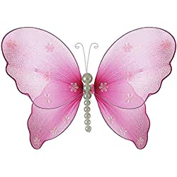 "The Butterfly Grove Isabella Butterfly Decoration - Hanging nylon deco wall ceiling nursery room girls bedroom wedding birthday party craft (small - 5"" x 4"", Magenta Hibiscus)"