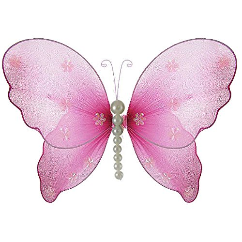 """The Butterfly Grove Isabella Pearl Butterfly Decoration 3D Hanging Mesh Organza Nylon Decor, Magenta Hibiscus, Medium, 11""""x 7"""""""