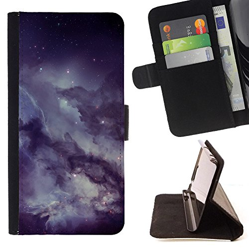 God Garden - FOR Apple Iphone 5C - Nebulae Outer Space - Glitter Teal Purple Sparkling Watercolor Personalized Design Custom Style PU Leather Case Wallet Fli