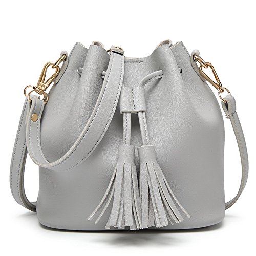 Gray Fashion Tote Odomolor Pu Tassels Casual Shoulder Women's Bags Bags SxxzOA4q