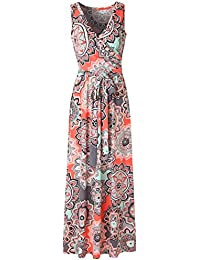 Womens Bohemian Printed Wrap Bodice Sleeveless Crossover...