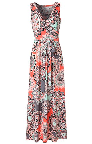 Zattcas Womens Bohemian Printed Wrap Bodice Sleeveless Crossover Maxi Dress,Coral Multi,XX-Large (Coral Maxi Dresses For Women)