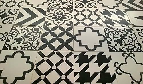 Amazon Com Assorted 6x6 Ceramic Tile Designs In Black