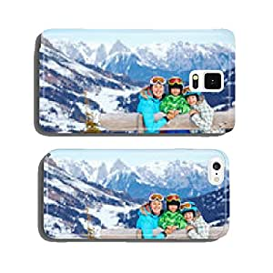 Two kids with mother enjoying winter vacations. cell phone cover case Samsung S5