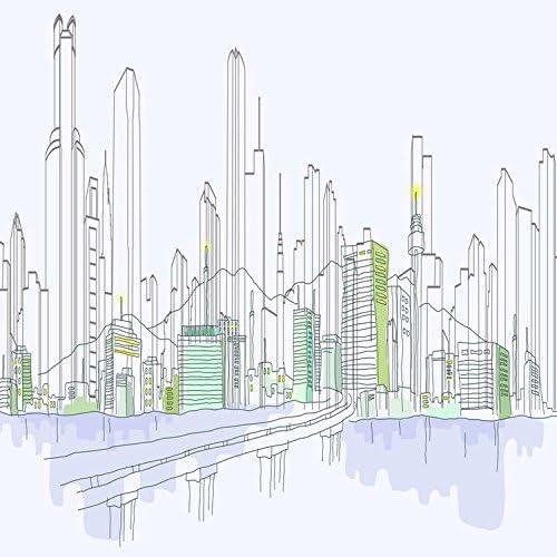 Yame 5x7ft Vinyl Digital Modern City Building Outline Sketch Photography Studio Backdrop Background