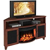 Shaker Style Corner 61  TV Stand with Curved Electric Fireplace