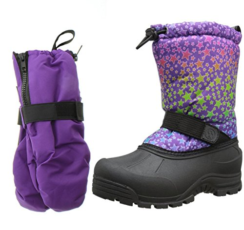 Northside Frosty Snow Boot, Purple Multi, 6 M US Big Kid with Matching Gloves