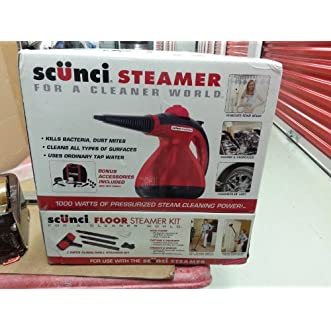 NEW Scunci Steamer SS1000/Portable /Bonus Scunci 7 Piece Floor Steamer Kit