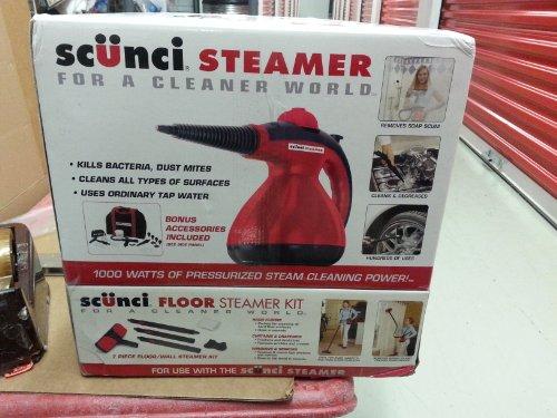 NEW Scunci Steamer SS1000/Portable /Bonus Scunci 7 Piece Floor Steamer Kit by Scunci
