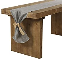 Ling's moment 14 x 96 Inch Gray Linen Table Runner with Burlap Bow Ties for Bridal Shower Baby Shower Party Decor, Thanksgiving, Halloween, Christmas Engagement Wedding and Fall Decorations