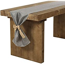 Ling's moment Gray Burlap Table Runner 14 x 144 Inch with Bow Ties for Farmhouse Table Runner Dresser Cover Runner Wedding Party Fall Decorations