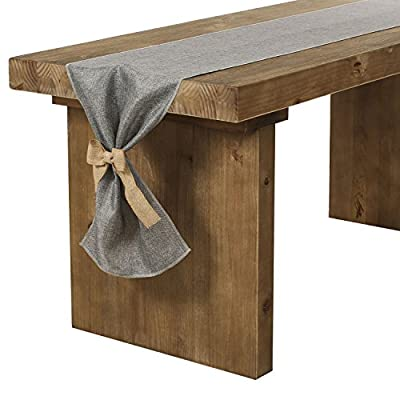 Ling's moment Gray Burlap Table Runner 14 x 120 Inch with Bow Ties for Farmhouse Table Runner Dresser Cover Runner Wedding Party Fall Decorations - Material: 100% Polyester. It's a natural and rustic feel table runner. Durable, lightweight, easy to carry, store, practically WRINKLE-FREE and machine washable. Style: It is a refined, clean pattern, solid color that creates simple elegance. NOTE: Please select a length that at least 24 inches longer than your table to allow room to tie the burlap bows. - table-runners, kitchen-dining-room-table-linens, kitchen-dining-room - 51tlD sHvyL. SS400  -