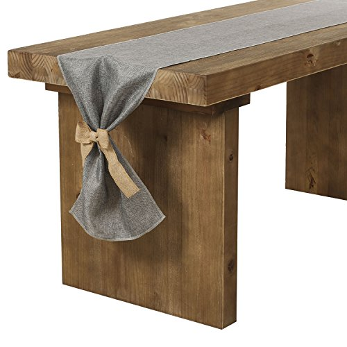 Cloth Table Runner - Ling's moment Gray Table Runner 14 x 108 Inch Faux Burlap Table Runner with Bow Ties for Farmhouse Table Runner Dresser Cover Runner Wedding Party Fall Decorations Dining Table Decor