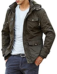 Men Multi-pocket Outdoor Hooded Cargo Jacket