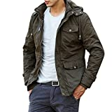 Orangetime Men Multi-pocket Outdoor Hooded Cargo Jacket L Army Green