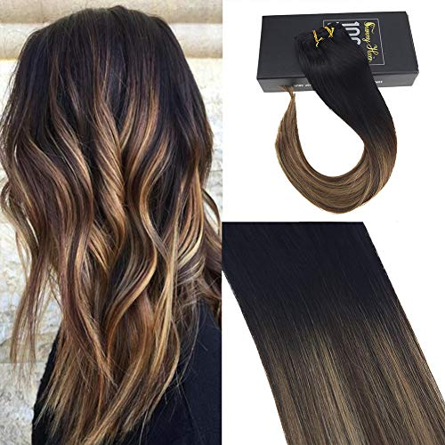 Sunny 16inch Clip in Human Hair Extensions Remy Hair Balayage Black Fading to Dark Brown Highlight Caramel Blonde Full Head Clip Extensions ()
