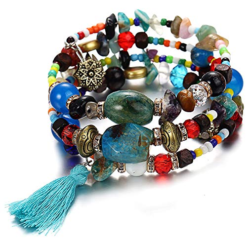 Unew Turquoise Stackable Bracelets for Women - Vintage Multi Layer Colorful Beads Bracelets Bohemian Anklets Tassel Crystal Charm Birthstone Yoga Chain Stretch Beach Bangle (Wrap Bracelet)
