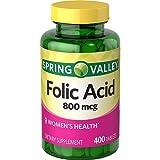 Spring Valley Folic Acid 800 mcg, 400 Tablets (1)