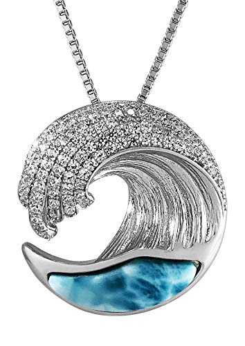 Sterling Silver Wave Pendant - Aloha Jewelry Company Sterling Silver Pave CZ & Larimar Wave Necklace Pendant with 18