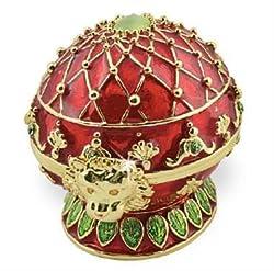 Objet d'art Release No.257 Empress Alexandra Faberge Styled Egg Handmade Jeweled Enameled Metal Trinket Box