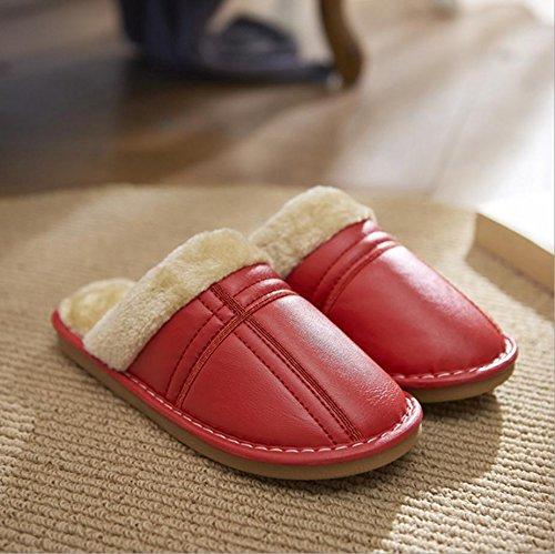 Ladies térmica Zapatillas Casual zapatillas de piel sintética big red