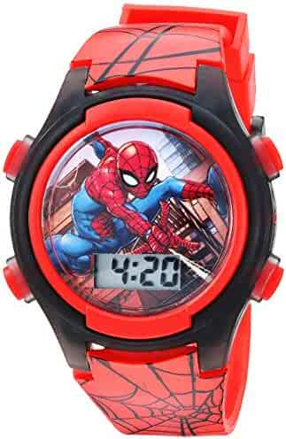 Marvel Boys' Quartz Watch with Plastic Strap, red, 16 (Model: SPD3515A