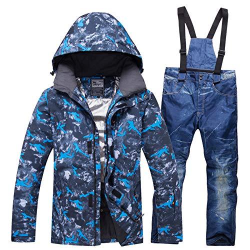 Chaqueta de esquí para Hombre, Pantalones a Prueba de Viento, Conjunto Impermeable 2, XXXL, Azul Denim: Amazon.es: Ropa y accesorios