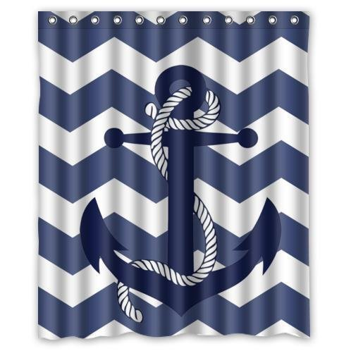 (EZON-CH Customize Waterproof Modern Simple Chevron Anchor Pattern Print with Navy Blue Chevron Zig Zag Picture Print Polyester Fabric Bathroom Shower Curtain(36IN X 72IN)