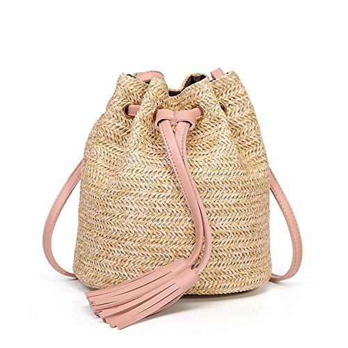 ring Bucket Straw Bag Casual Vintage Shoulder Bag Crossbody Bag (Pink) ()