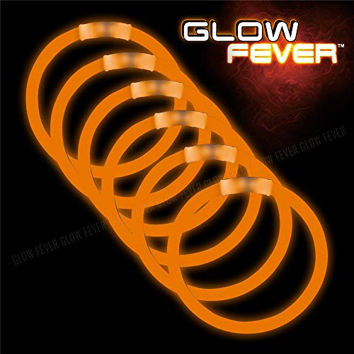 Orange Glow Sticks Bulk 50ct 8inches Bracelets - for Parties,Camping,Dances and -