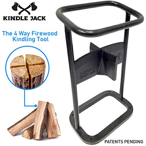 - EasyGoProducts Jack Axe Wedge Firewood Kindling Tool Cuts 4 Ways - Wood Log Cracker Splitter-Patent Pending