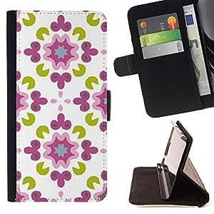 For Samsung Galaxy S6 Case , Blanco Verde Diseño floral- la tarjeta de Crédito Slots PU Funda de cuero Monedero caso cubierta de piel