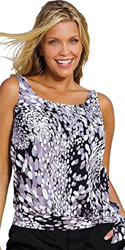 Beach Belle Women's Plus Size Dew Drops Blouson Top 18 Multi