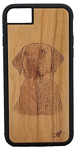 iPhone 6, 6s, 7, and 8 Compatible Laser Engraved Cherry Wood Cell Phone Case - From Photo of Labrador Retriever (Labrador Retriever Dogs Pictures)