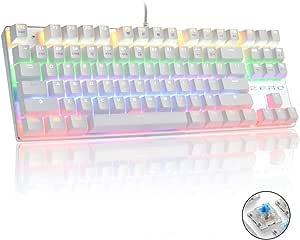 Teclado mecánico, HiveNets 87 Teclas Interruptores Azules Teclado retroiluminado RGB Anti-Fantasma para Juegos (Blanco)