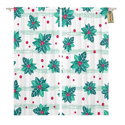 Golee Window Curtain Holly Berry Stripes Holiday Great for Winter Packaging Giftwrap Home Decor Rod Pocket Drapes 2 Panels Curtain 104 x 96 inches (Wrap Decor Holiday Holly)