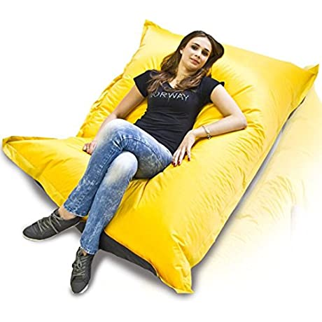 Turbo BeanBags Pillow Style Bean Bag Chair Large Yellow Black
