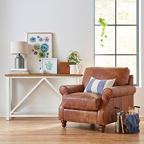 "Stone & Beam Charles Classic Oversized Leather Accent Arm Chair, 39""W, Saddle Brown"