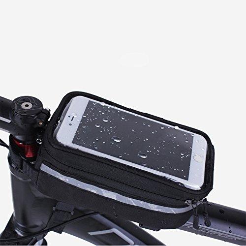 Hrph Bolso de bicicleta Bicicleta de bicicleta marco de teléfonos móviles portador de bolsas bolsa de la caja de accesorios de equitación amarillo