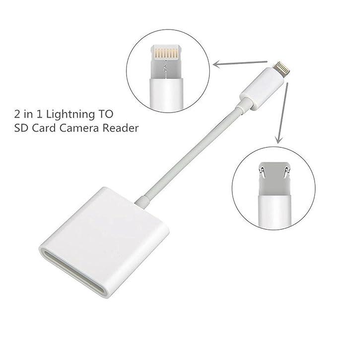 Conector 2 en 1 Inassen, micro USB/Lightning a lector de tarjeta SD para iPhone, iPad, y teléfonos y tabletas Android