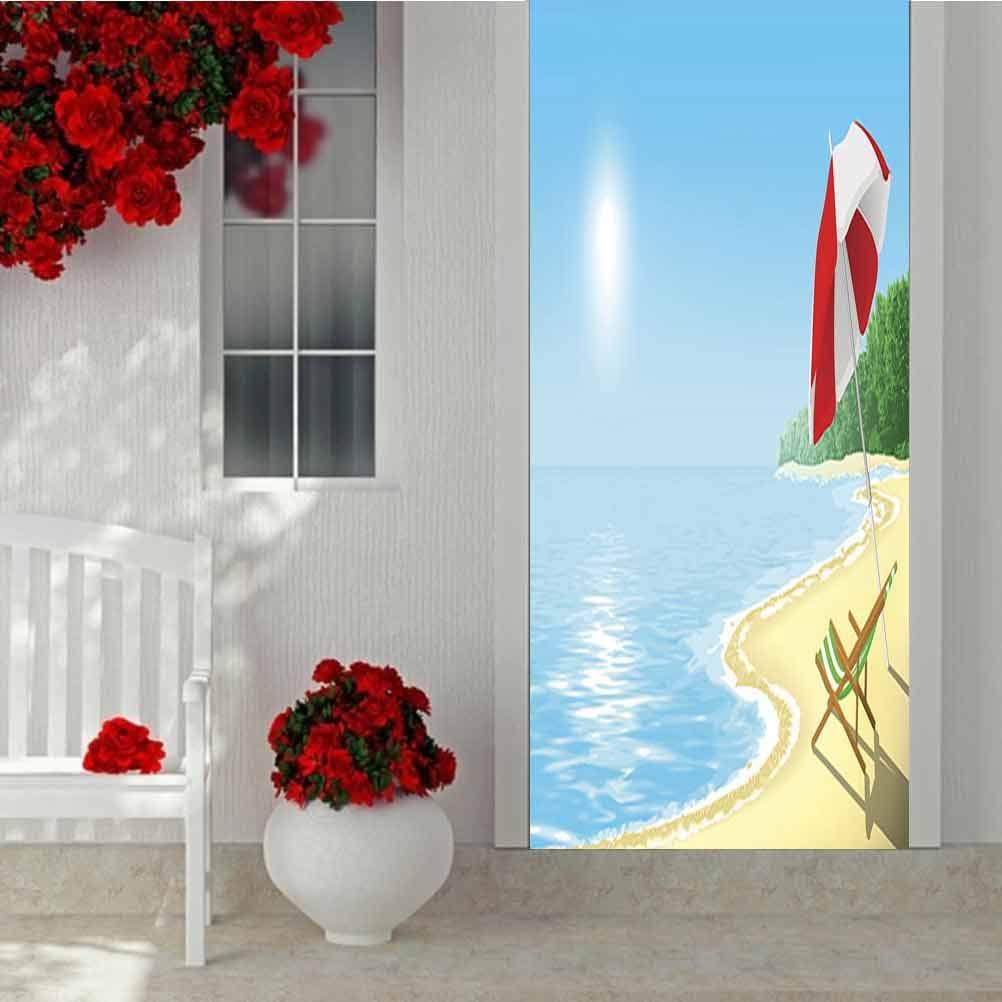 3D Door Mural Decals Wall Murals Wallpaper, Beach, Peel and Stick Removable Door Decal for Home Decorative W30.3 x L78.7 Inch