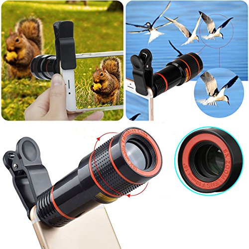 KLAREN Cellphone Camera Lens, Clip-on Camera Lens, 8X Optical Zoom Telescope Lens Universal for iOS and Android Smartphones (Black)