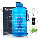 2.2L/73oz Water Bottle With Time Marker, Large Sports Water bottle Water Jug with Sleeve & Cleaning Brushes & Cooling Towel, Reusable Leak Proof Motivational Water Bottle for GYM Fitness Camping